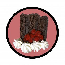 Slice of chocolate layer cake isolated on a white background.