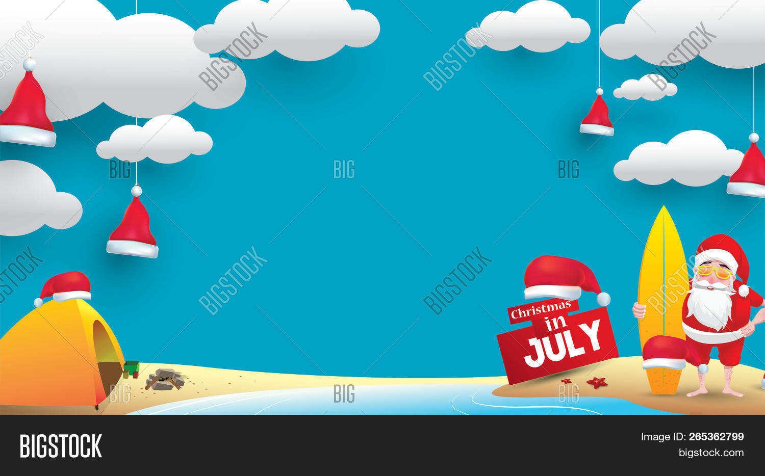 Christmas In July Santa Clipart.Christmas July Design Image Photo Free Trial Bigstock