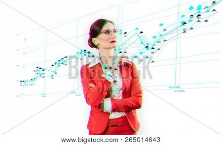 Business woman standing in front of data analyzing the stream, becoming herself part of the human technology nexus that will inevitably lead to our destruction as species