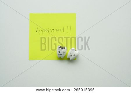 Isolated Mock Up Postit Of Appointment With Dentist For Teeth Check Up With Decayed Cute Teeth Carto