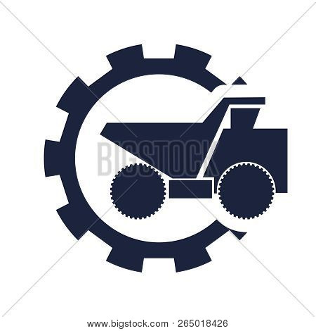 Haul Or Dump Truck. Dumper Or Tipper Symbol In Gear. Mining And Construction Machinery For Transport