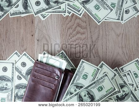Frame For Text From Of Dollar Bills On Wooden Background.busines