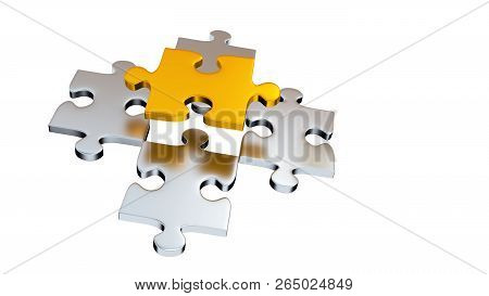 3d Illustration Of Four Grey Puzzle Pieces Under One Gold Piece With A White Background