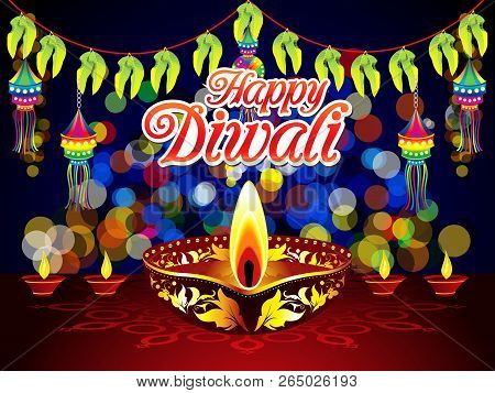 Abstract Artistic Creative Diwali Night Background Vector Illustration