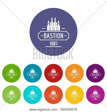 Royal Bastion Icons Color Set Vector For Any Web Design On White Background