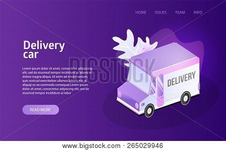 Delivery Truck Service Landing Isometric Vector Illustration Concept