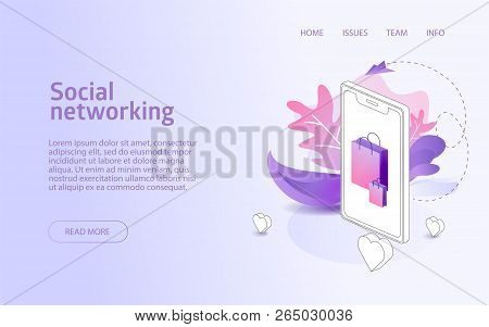 Online Shop Social Network Website Landing Or E-commerce Isometric Vector Illustration Concept