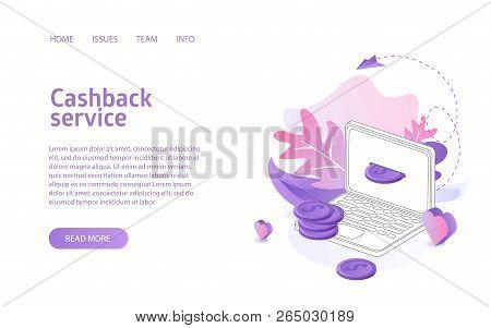 Cashback Service Landing Isometric Vector Illustration Concept