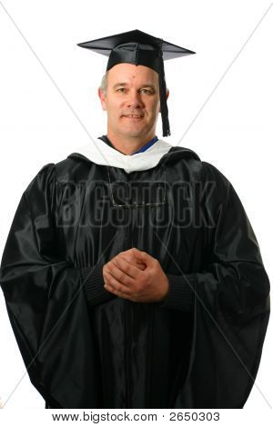 Teacher professor or student graduate with isolated on white space poster
