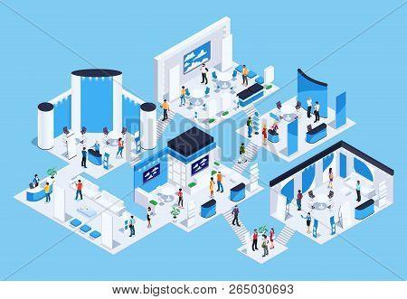 Isometric Exhibition Hall With People. 3d Promotional Stands. Exposition Booth. Blank Mockup. Vector