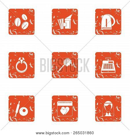 Wedding Tour Icons Set. Grunge Set Of 9 Wedding Tour Vector Icons For Web Isolated On White Backgrou