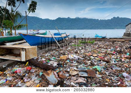 Horrible rubbish field along the coastline in the Banda Neira island, Maluku, Indonesia