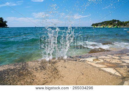 Beach On The Adriatic Sea Near Porec In Croatia
