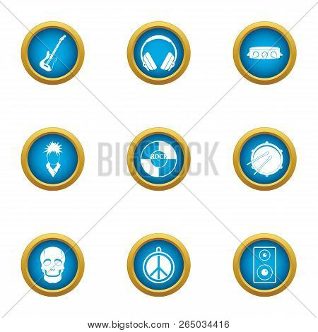 Music Threat Icons Set. Flat Set Of 9 Music Threat Vector Icons For Web Isolated On White Background