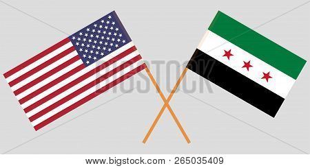 Crossed Usa And Syrian National Coalition Flags. Official Colors. Correct Proportion. Vector Illustr