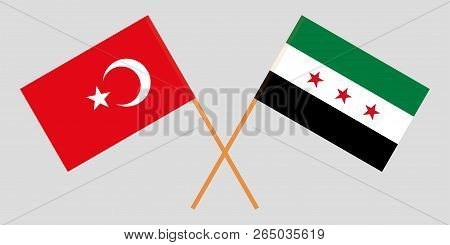 Crossed Syrian National Coalition And Turkey Flags. Official Colors. Correct Proportion. Vector Illu