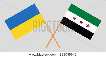 Crossed Flags Of Syrian National Coalition And Ukraine. Official Colors. Correct Proportion. Vector