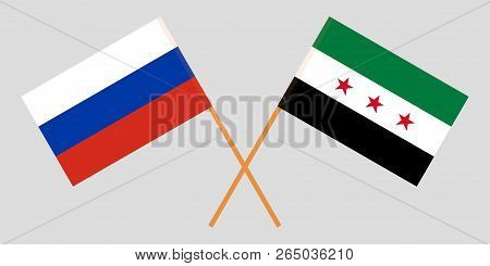 Crossed Syrian National Coalition And Russia Flags. Official Colors. Correct Proportion. Vector Illu