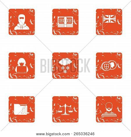 Judge Icons Set. Grunge Set Of 9 Judge Vector Icons For Web Isolated On White Background