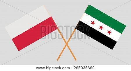 Crossed Flags Of Syrian National Coalition And Poland. Official Colors. Correct Proportion. Vector I