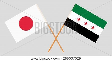 Crossed Flags Of Syrian National Coalition And Japan. Official Colors. Correct Proportion. Vector Il