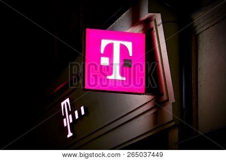 Karlovy Vary, Czech Republic - October 02, 2018: Neon Sign At A Telecom Shop In Downtown Karlovy Var