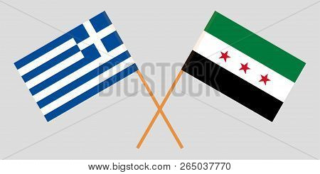 Crossed Syrian National Coalition And Greece Flags. Official Colors. Correct Proportion. Vector Illu