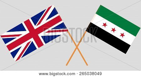 Crossed Syrian National Coalition And Uk Flags. Official Colors. Correct Proportion. Vector Illustra