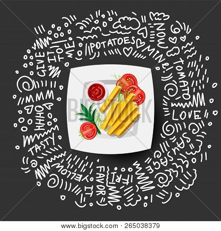 French Fries Icon On White Plate With Tomatoes, Greens. French Fries Vector Illustration, Cartoon Ic