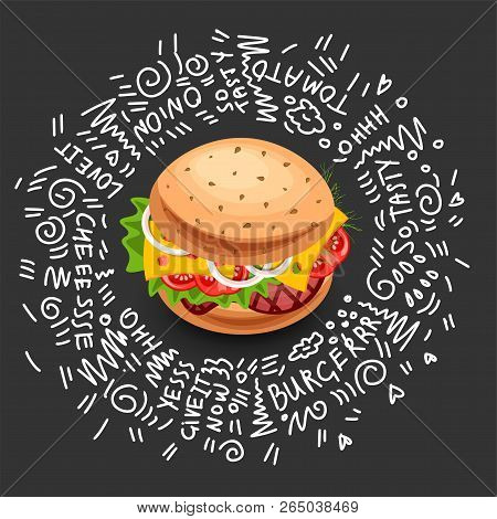 Vector Fast Food Burger Icon, Isolated On Black Background. Junk Food Burger With Cheese, Meat, Gree