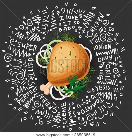 Chicken Grilled Leg Vector Icon, Isolated On Black Background With Greens And Onion. Tasty Juicy Chi