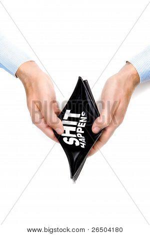 Man Hands Presenting An Empty Wallet