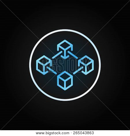 Blue Blockchain In Circle Outline Icon. Block Chain Technology Outline Concept Outline Sign On Dark