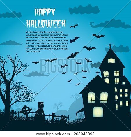 Happy Halloween Night Background With Silhouette Of Castle Near Cemetery And Flying Bats Flat Vector