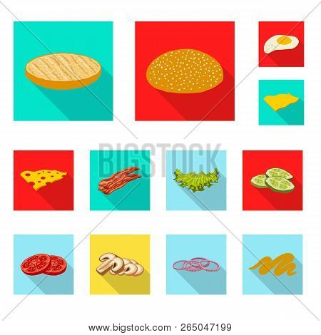 Vector Illustration Of Burger And Sandwich Sign. Collection Of Burger And Slice Stock Symbol For Web