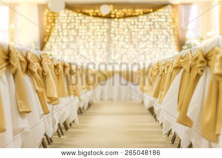 Wedding, Decoration, Wedding Setup. Golden Lights And Blurred Bokeh Background. Elegant And Romantic