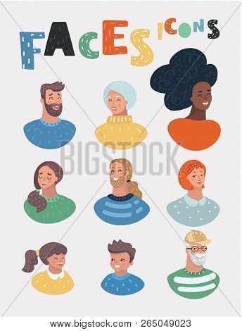 People Icons Vector Set. Face Of People Illustration In Cartoon Style. Different Men And Women And C