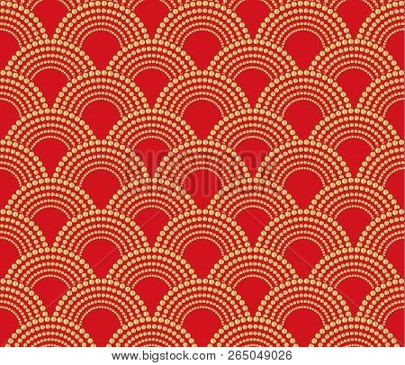 Chinese Traditional Oriental Ornament Background, Red With Gold Pattern Seamless