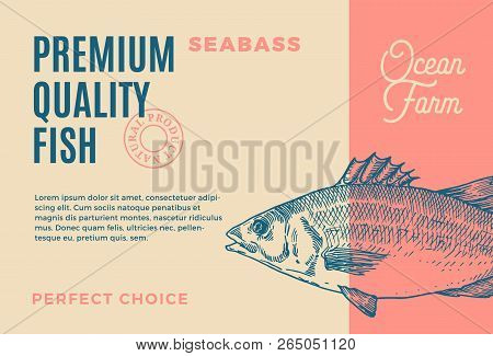 Premium Quality Seabass. Abstract Vector Fish Packaging Design Or Label. Modern Typography And Hand