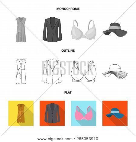 Vector Illustration Of Woman And Clothing Sign. Collection Of Woman And Wear Stock Symbol For Web.