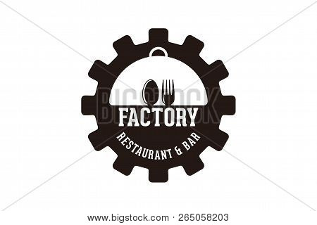 Gear, Spoon And Fork, Factory Restaurant Logo Designs Inspiration Isolated On White Background