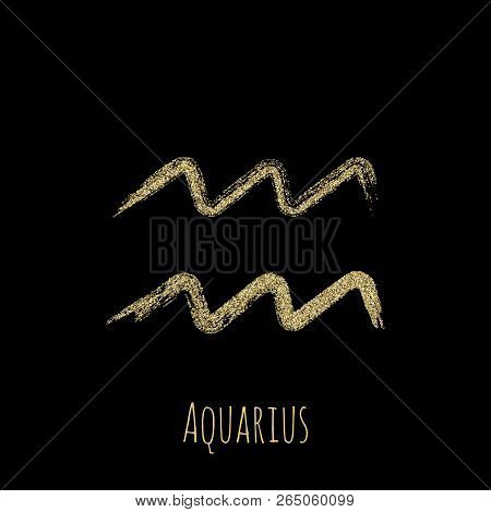 Gold Glitter Aquarius Zodiac Sign, Hand Painted Horoscope Symbol Vector. Astrological Icon Isolated.