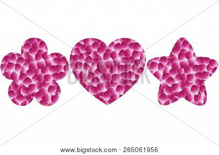 Flower Shaped, Heart Shaped And Star Shaped Of Dendrobium Orchid Petal On White Background