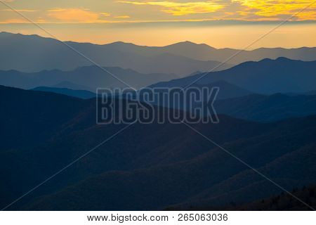 Smoky Mountain Colorful Sunset Scene Landscape Ridges Layer background