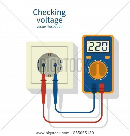 Measuring Electricity In A Socket Using A Multimeter. Digital Multimeter With Lcd Display 220 Voltag