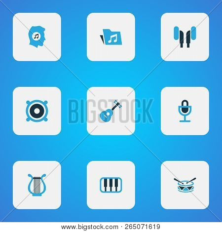 Audio Icons Colored Set With Meloman, Mike, Instrument And Other Harp Elements. Isolated Vector Illu