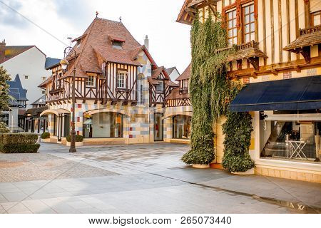 Street View With Beautiful Old Houses In The Center Of Deauville Town, Famous French Resort In Norma