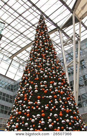 Decorated christmas tree at Munich airport