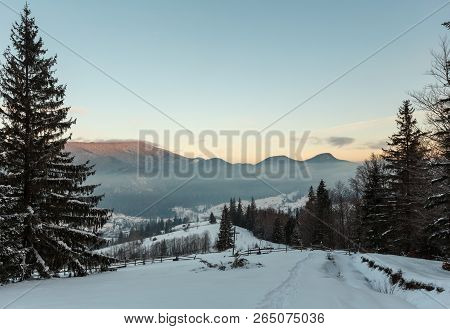 Sunrise Morning Winter Mountain Village Outskirts In Black Cheremosh River Valley Between Alp. View