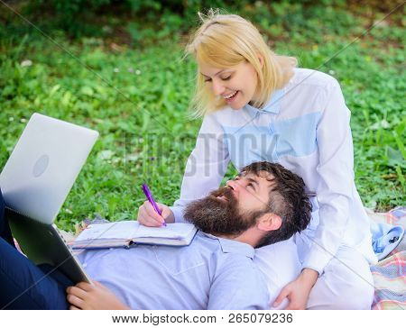 Balance Freelance And Family Life. Man And Girl Work Laptop. Build Business With Your Spouse. Share